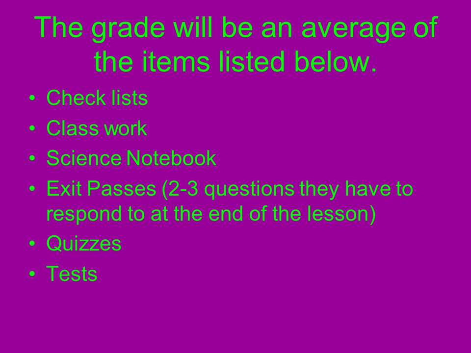 The grade will be an average of the items listed below.