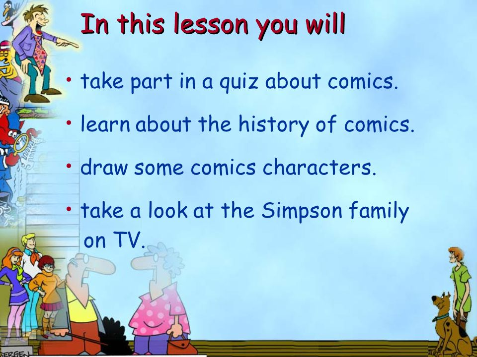 take part in a quiz about comics. learn about the history of comics.