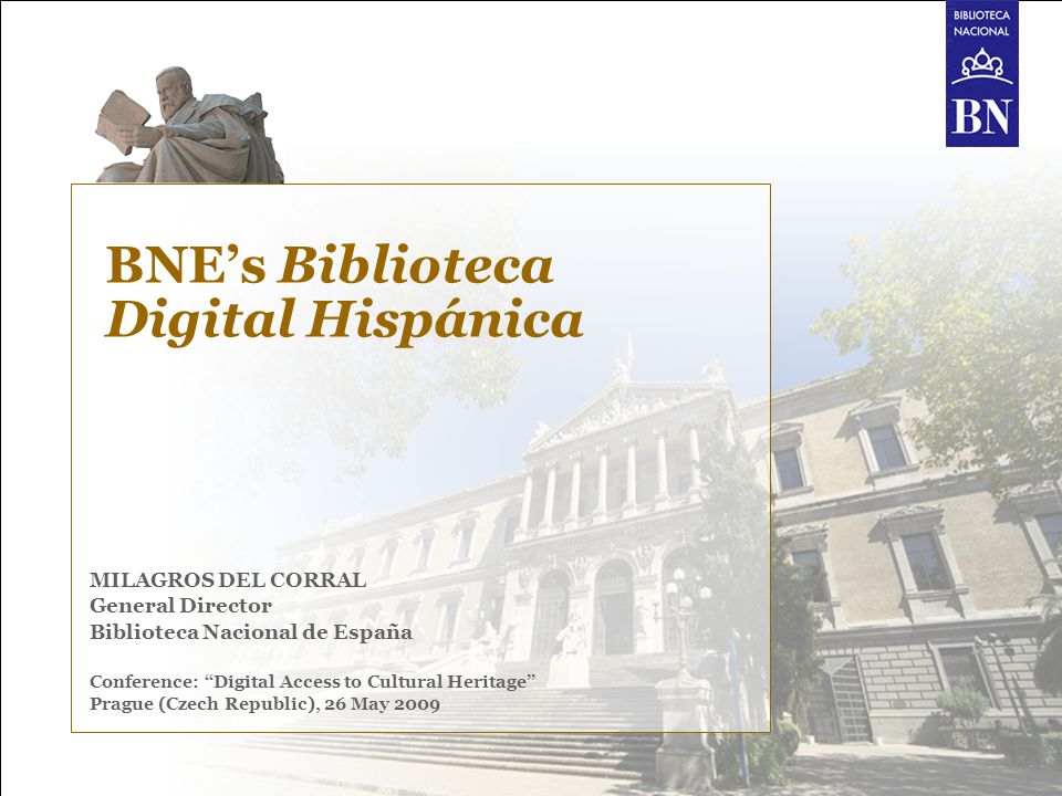 BNE's Biblioteca Digital Hispánica 2 Index 01 Flash information of the BNE 02 The BNE in figures 03 Patrimonial collections 04 Biblioteca Digital Hispánica: The Biblioteca Digital Hispánica Strategic partner agreement with Telefónica for large scale digitization project BDH functionalities New value-added service starting on May 2009 Another digital collection : Historic Press Goals for the near future BNE participation in European projects 05 Along 2009…