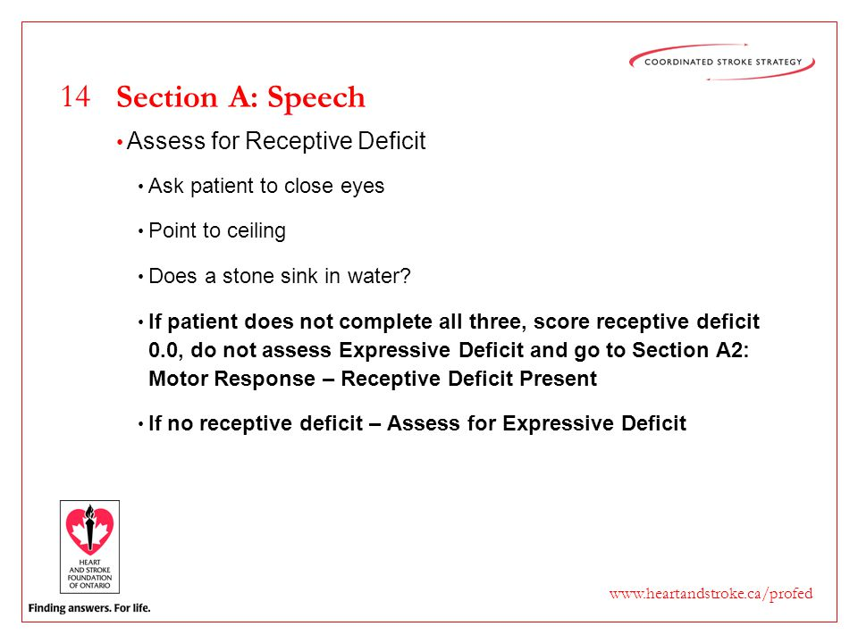 14 www.heartandstroke.ca/profed Section A: Speech Assess for Receptive Deficit Ask patient to close eyes Point to ceiling Does a stone sink in water?
