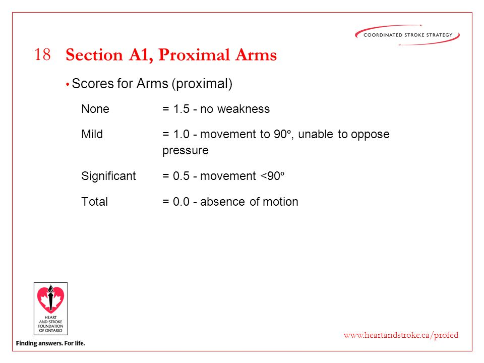18 www.heartandstroke.ca/profed Section A1, Proximal Arms Scores for Arms (proximal) None= 1.5 - no weakness Mild= 1.0 - movement to 90 º, unable to o