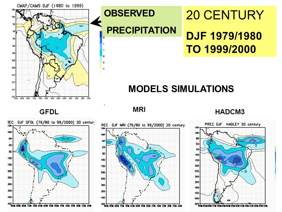 20 CENTURY DJF 1979/1980 TO 1999/2000 GFDL MRI HADCM3 OBSERVED PRECIPITATION MODELS SIMULATIONS