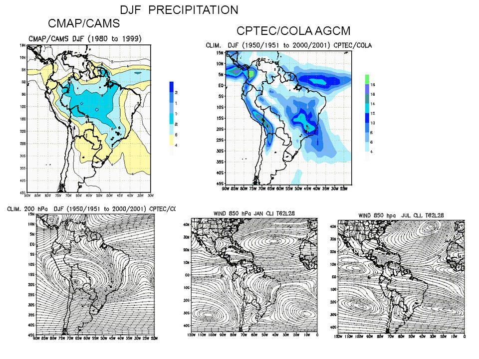 CPTEC/COLA AGCM DJF PRECIPITATION CMAP/CAMS
