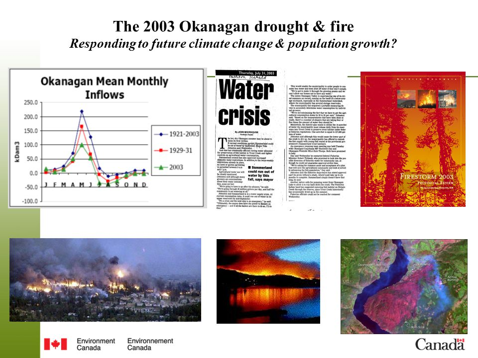 The 2003 Okanagan drought & fire Responding to future climate change & population growth?