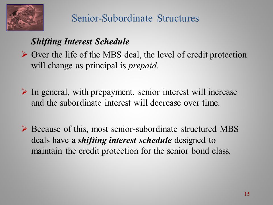 15 Senior-Subordinate Structures Shifting Interest Schedule  Over the life of the MBS deal, the level of credit protection will change as principal is prepaid.