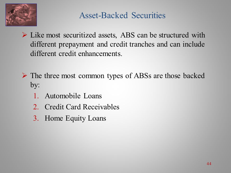 44 Asset-Backed Securities  Like most securitized assets, ABS can be structured with different prepayment and credit tranches and can include different credit enhancements.