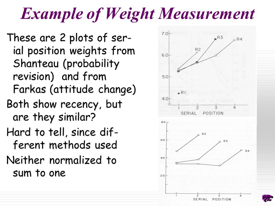 Example of Weight Measurement These are 2 plots of ser- ial position weights from Shanteau (probability revision) and from Farkas (attitude change) Both show recency, but are they similar.