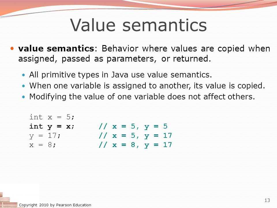 Copyright 2010 by Pearson Education 13 Value semantics value semantics: Behavior where values are copied when assigned, passed as parameters, or returned.