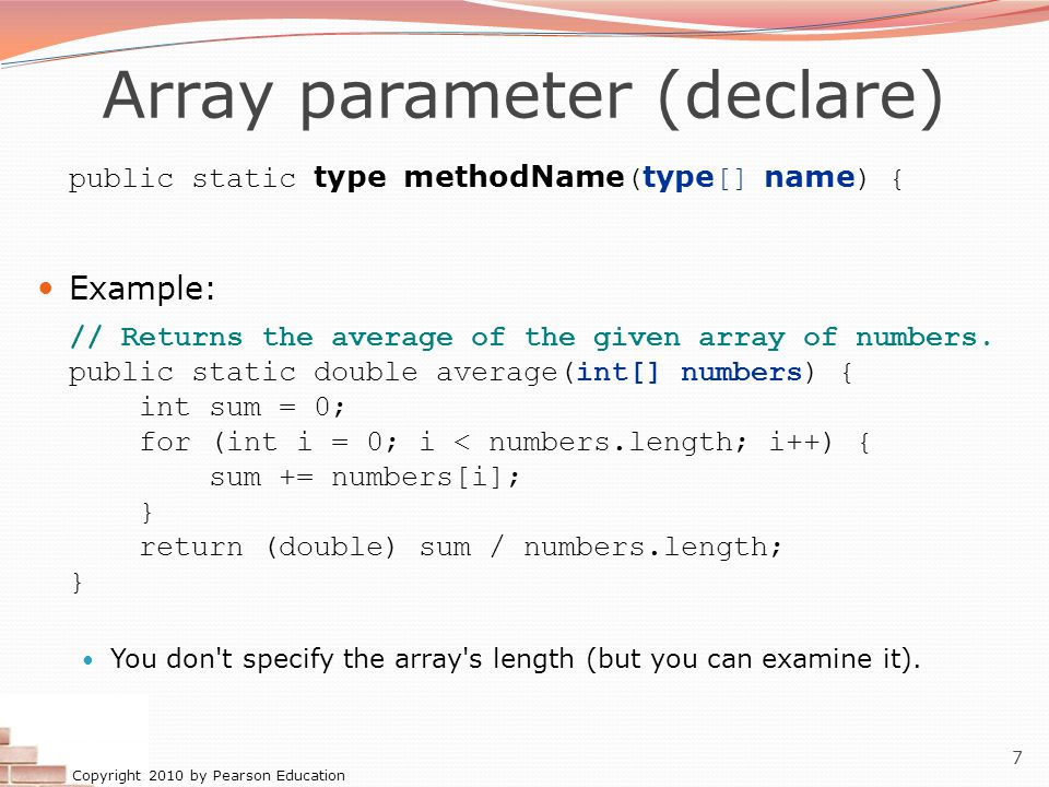 Copyright 2010 by Pearson Education 18 Array reverse question 2 Turn your array reversal code into a reverse method.