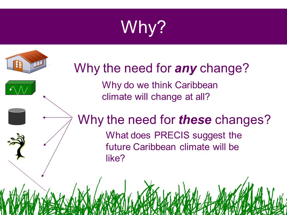 Why? Why the need for any change? Why the need for these changes? Why do we think Caribbean climate will change at all? What does PRECIS suggest the f