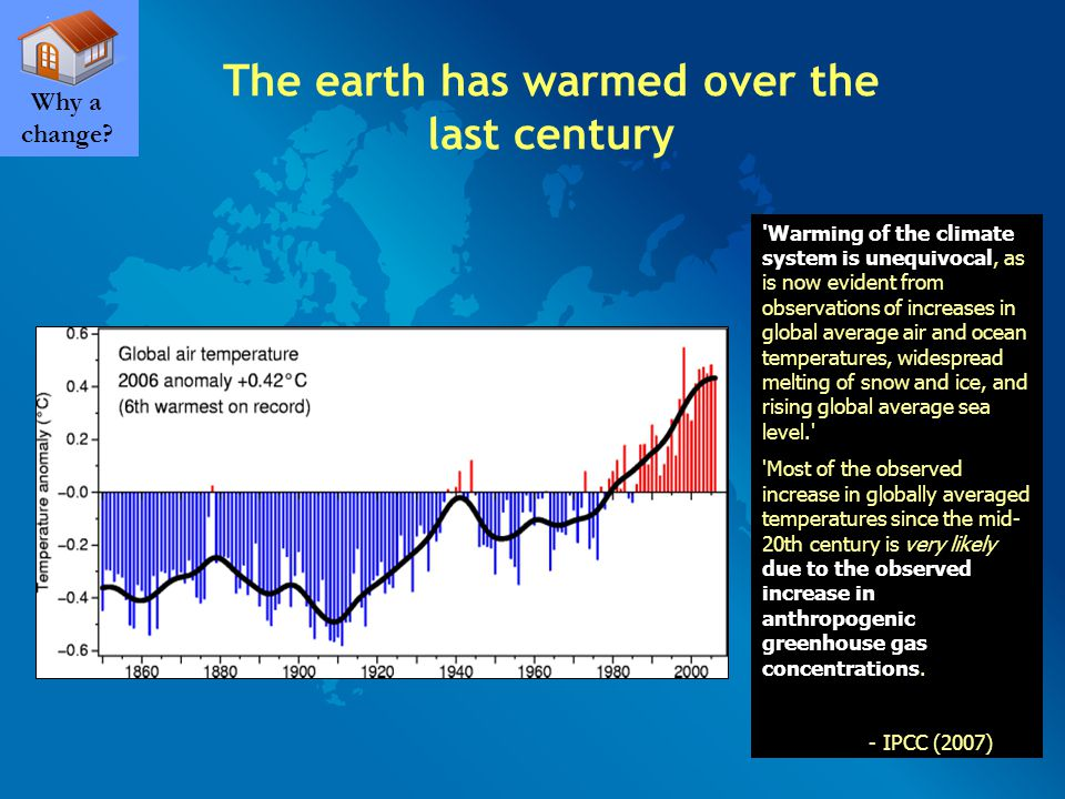 The earth has warmed over the last century Why a change.