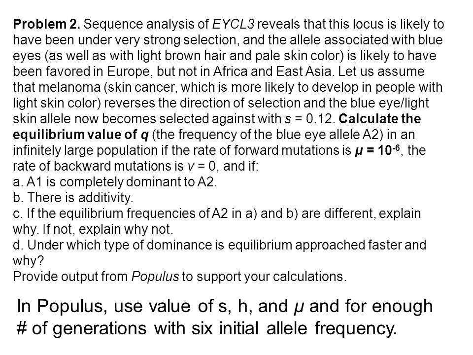 Problem 2. Sequence analysis of EYCL3 reveals that this locus is likely to have been under very strong selection, and the allele associated with blue
