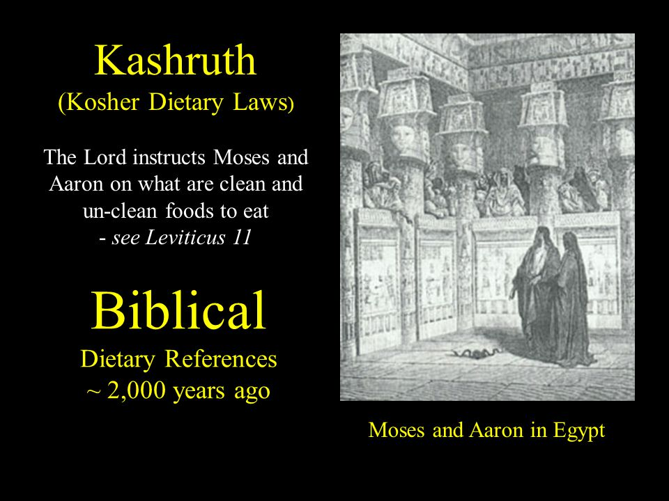 Biblical Dietary References ~ 2,000 years ago Moses and Aaron in Egypt Kashruth (Kosher Dietary Laws ) The Lord instructs Moses and Aaron on what are clean and un-clean foods to eat - see Leviticus 11