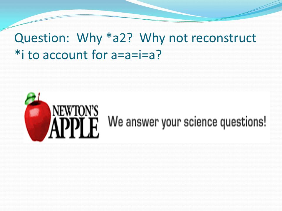 Question: Why *a2? Why not reconstruct *i to account for a=a=i=a?