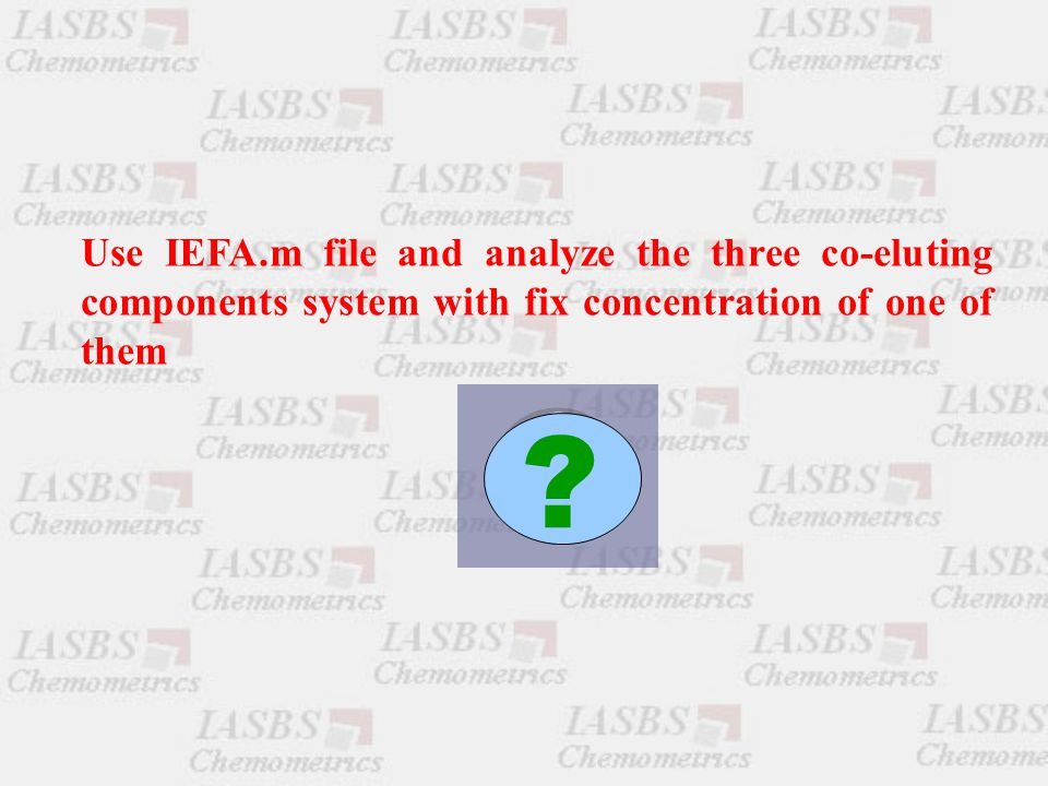 Use IEFA.m file and analyze the three co-eluting components system with fix concentration of one of them