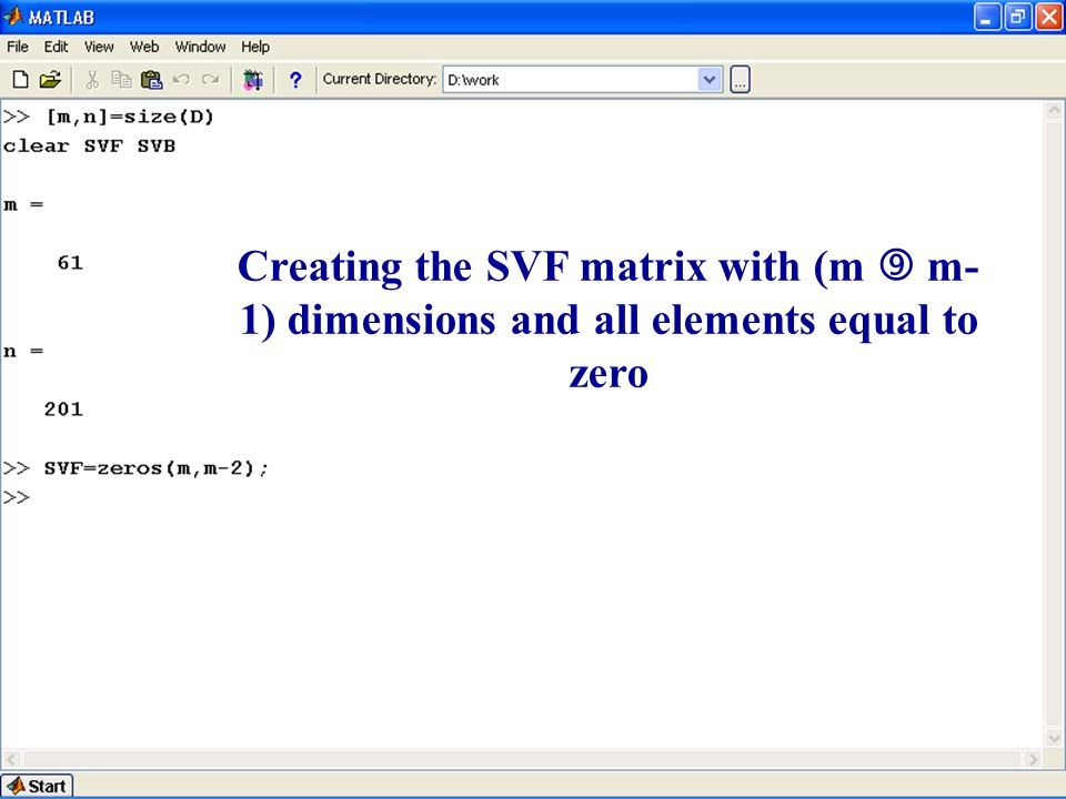 Creating the SVF matrix with (m  m- 1) dimensions and all elements equal to zero