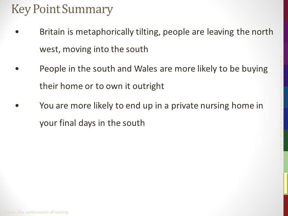 The Population of the UK – © 2012 Sasi Research Group, University of Sheffield Key Point Summary Britain is metaphorically tilting, people are leaving the north west, moving into the south People in the south and Wales are more likely to be buying their home or to own it outright You are more likely to end up in a private nursing home in your final days in the south Home…the settlements of society