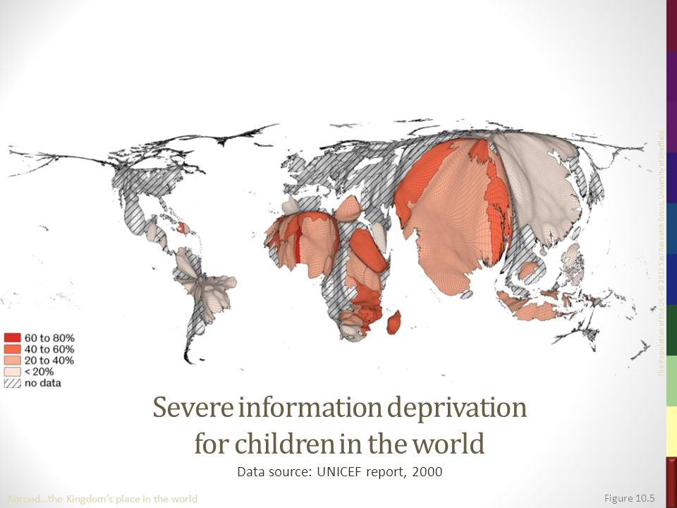 The Population of the UK – © 2012 Sasi Research Group, University of Sheffield Severe information deprivation for children in the world Data source: UNICEF report, 2000 Figure 10.5 Abroad…the Kingdom's place in the world