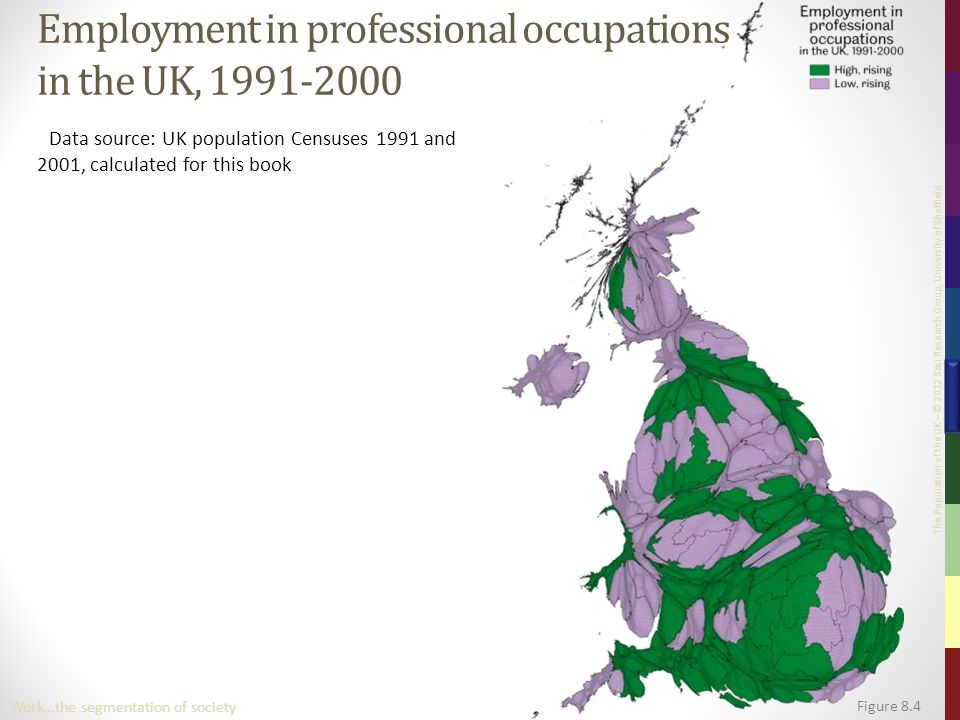 The Population of the UK – © 2012 Sasi Research Group, University of Sheffield Figure 8.4 Work…the segmentation of society Employment in professional occupations in the UK, 1991-2000 Data source: UK population Censuses 1991 and 2001, calculated for this book