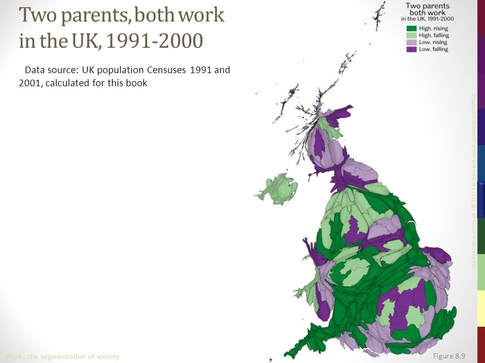 The Population of the UK – © 2012 Sasi Research Group, University of Sheffield Figure 8.9 Work…the segmentation of society Two parents, both work in the UK, 1991-2000 Data source: UK population Censuses 1991 and 2001, calculated for this book
