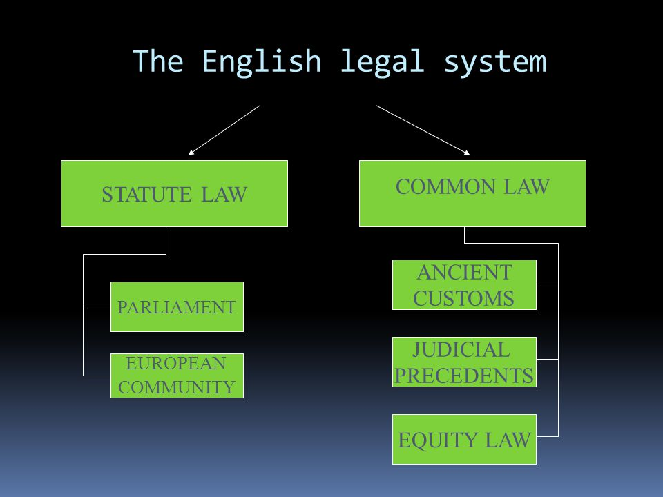 The English legal system STATUTE LAW COMMON LAW PARLIAMENT EUROPEAN COMMUNITY ANCIENT CUSTOMS JUDICIAL PRECEDENTS EQUITY LAW