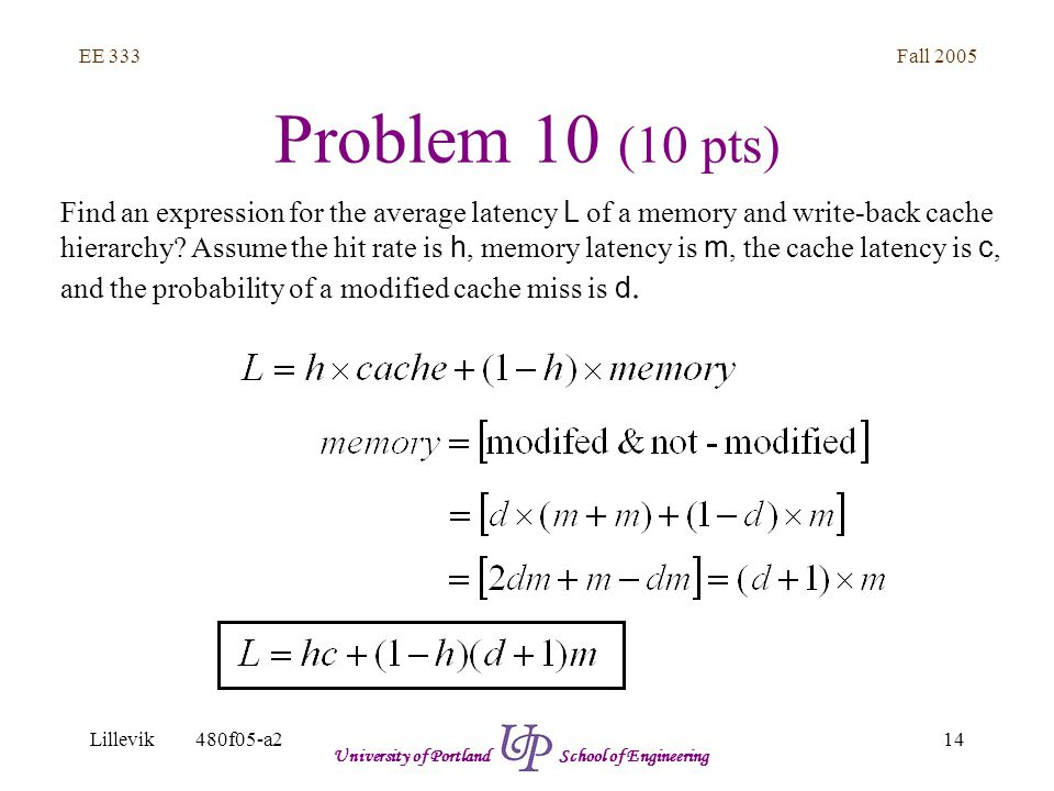Fall 2005 14 EE 333 Lillevik480f05-a2 University of Portland School of Engineering Problem 10 (10 pts) Find an expression for the average latency L of a memory and write-back cache hierarchy.