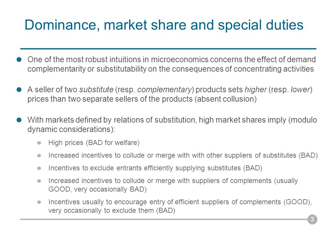 Why special duties for dominant firms.