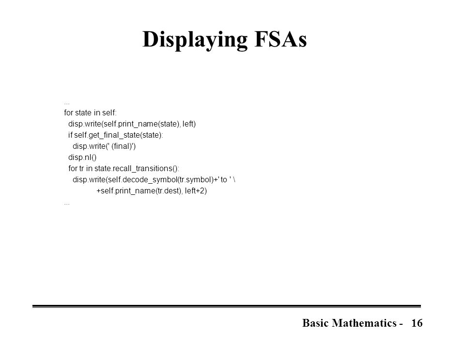 16Basic Mathematics - Displaying FSAs...