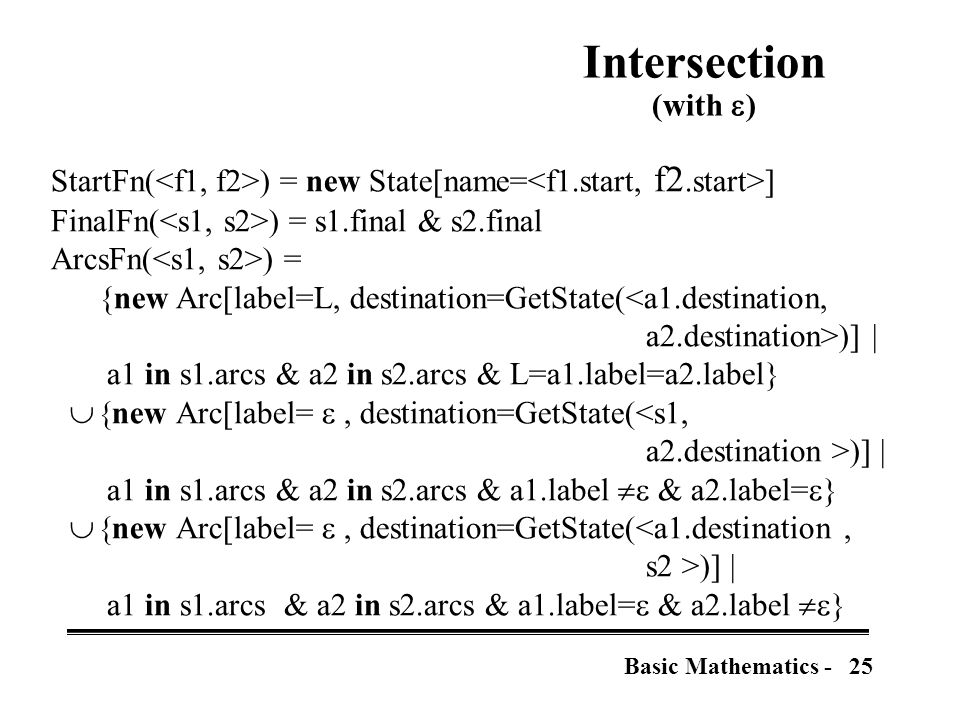 25Basic Mathematics - Intersection (with  ) StartFn( ) = new State[name= ] FinalFn( ) = s1.final & s2.final ArcsFn( ) = {new Arc[label=L, destination=GetState(<a1.destination, a2.destination>)] | a1 in s1.arcs & a2 in s2.arcs & L=a1.label=a2.label}  new Arc[label= , destination=GetState(<s1, a2.destination >)] | a1 in s1.arcs & a2 in s2.arcs & a1.label  & a2.label=  }  new Arc[label= , destination=GetState(<a1.destination, s2 >)] | a1 in s1.arcs & a2 in s2.arcs & a1.label=  & a2.label  }