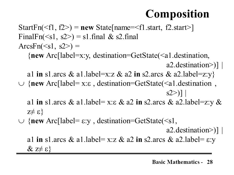 28Basic Mathematics - Composition StartFn( ) = new State[name= ] FinalFn( ) = s1.final & s2.final ArcsFn( ) = {new Arc[label=x:y, destination=GetState(<a1.destination, a2.destination>)] | a1 in s1.arcs & a1.label=x:z & a2 in s2.arcs & a2.label=z:y}  {new Arc[label= x: , destination=GetState(<a1.destination, s2>)] | a1 in s1.arcs & a1.label= x:  & a2 in s2.arcs & a2.label=z:y & z≠  }  {new Arc[label=  y, destination=GetState(<s1, a2.destination>)] | a1 in s1.arcs & a1.label= x:z & a2 in s2.arcs & a2.label=  y & z≠  }