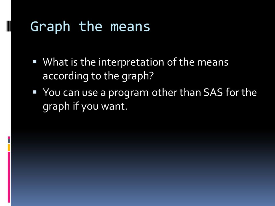 Graph the means  What is the interpretation of the means according to the graph.
