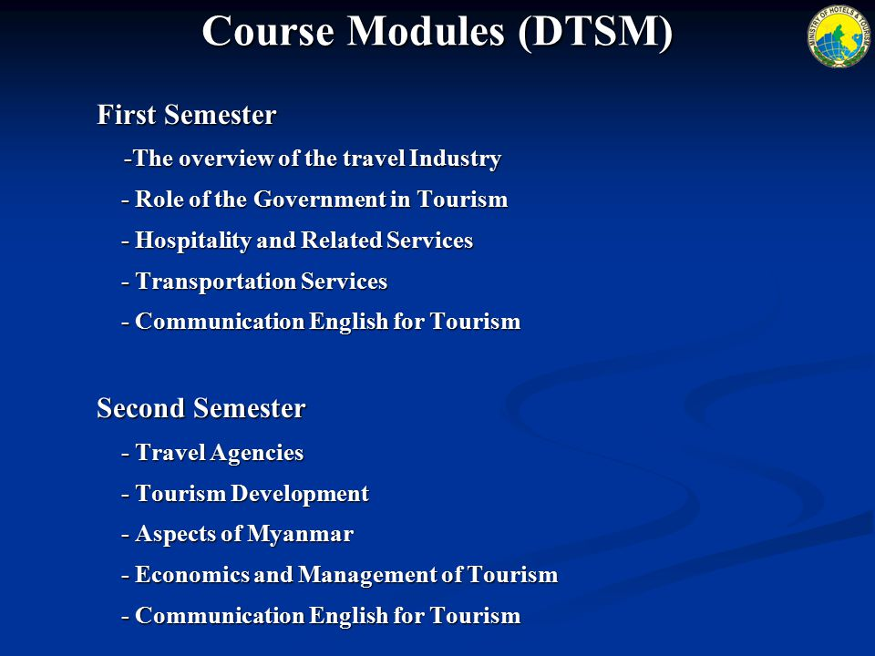 Course Modules (DTSM) First Semester -The overview of the travel Industry - Role of the Government in Tourism - Role of the Government in Tourism - Hospitality and Related Services - Hospitality and Related Services - Transportation Services - Transportation Services - Communication English for Tourism - Communication English for Tourism Second Semester - Travel Agencies - Travel Agencies - Tourism Development - Tourism Development - Aspects of Myanmar - Aspects of Myanmar - Economics and Management of Tourism - Economics and Management of Tourism - Communication English for Tourism - Communication English for Tourism
