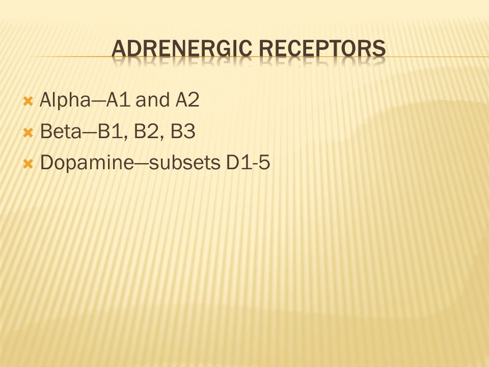  Alpha—A1 and A2  Beta—B1, B2, B3  Dopamine—subsets D1-5
