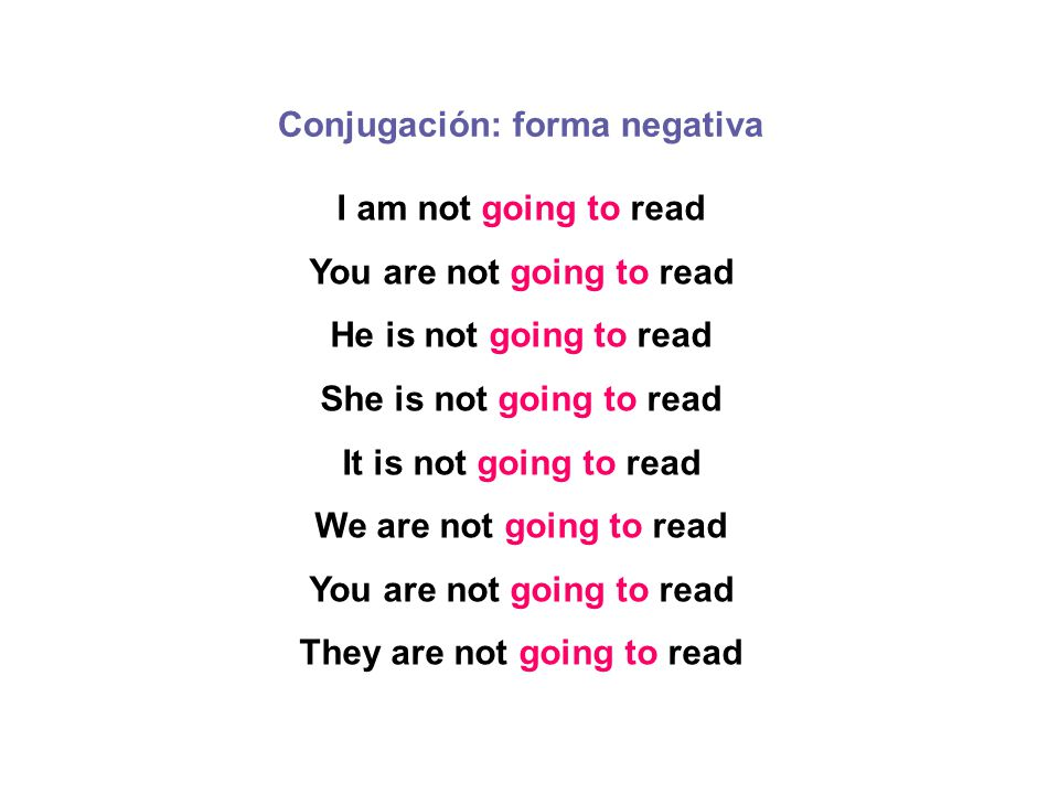 I am not going to read You are not going to read He is not going to read She is not going to read It is not going to read We are not going to read You are not going to read They are not going to read Conjugación: forma negativa