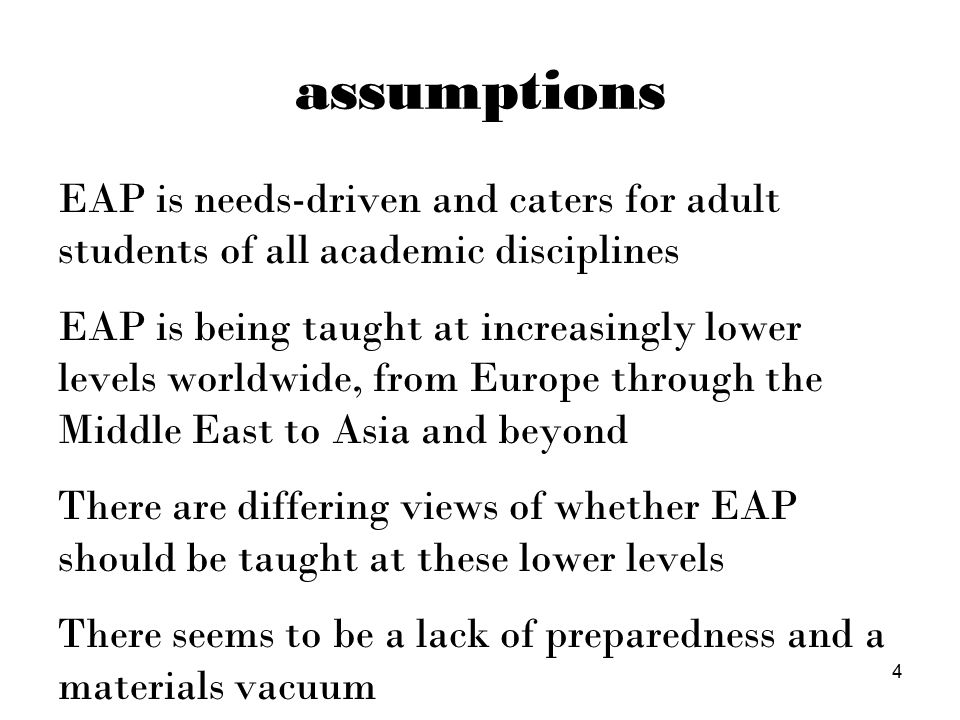 5 situating EAP focusEFLESPEAPCLIL general purpose ■ needs-driven, clear aims ■■■ interdisciplinary / generic academic genres ■ technical / subject-specific content ■ ■ typical ages3+17+ 7+ typical levelsA1 → C2A2 → B2+B1 → C1A2+ critical thinking ■■■