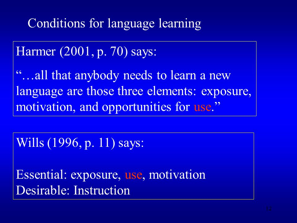 12 Conditions for language learning Harmer (2001, p.