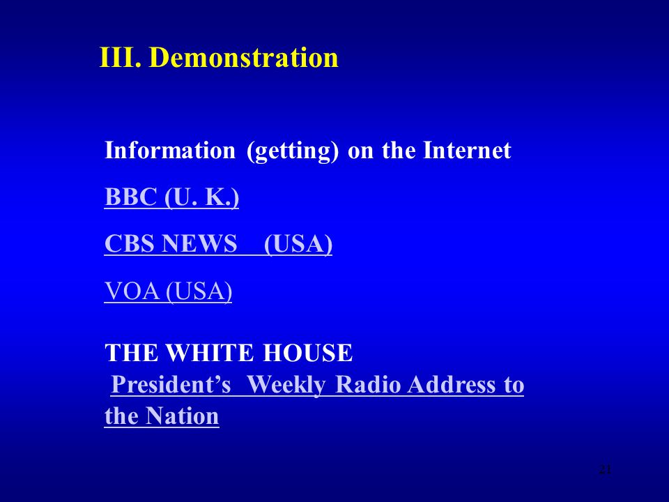 21 Information (getting) on the Internet BBC (U.