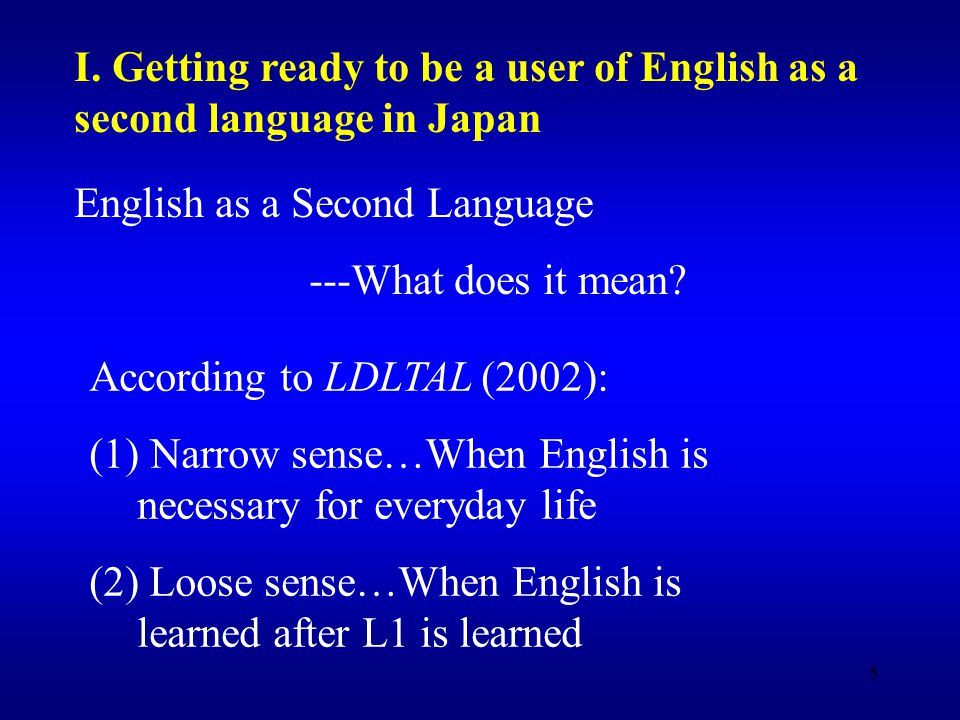 5 English as a Second Language ---What does it mean.