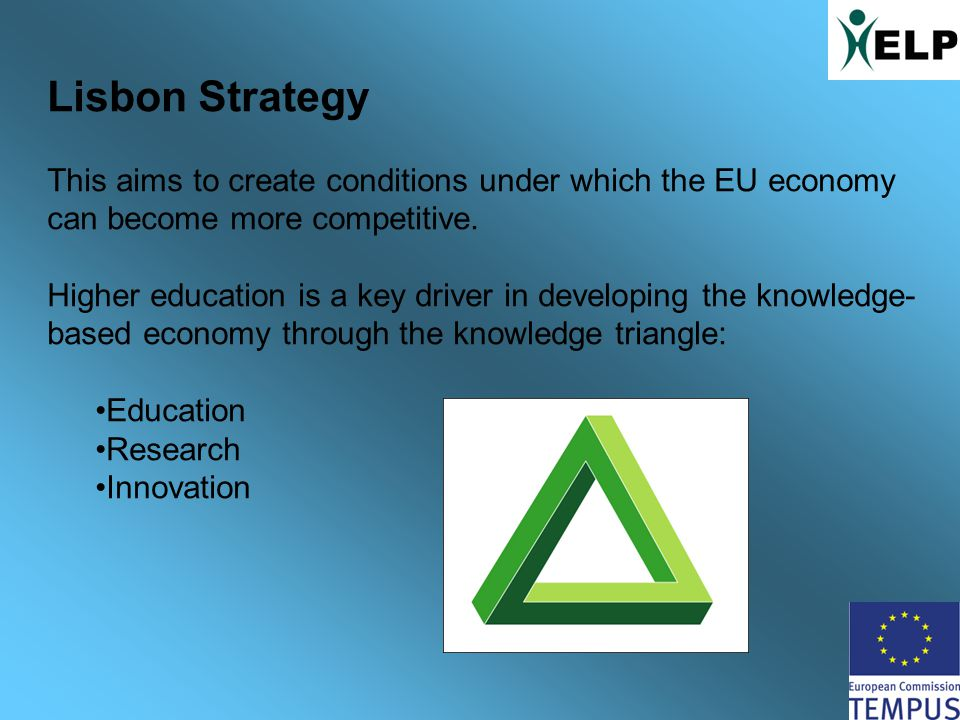 Lisbon Strategy This aims to create conditions under which the EU economy can become more competitive.