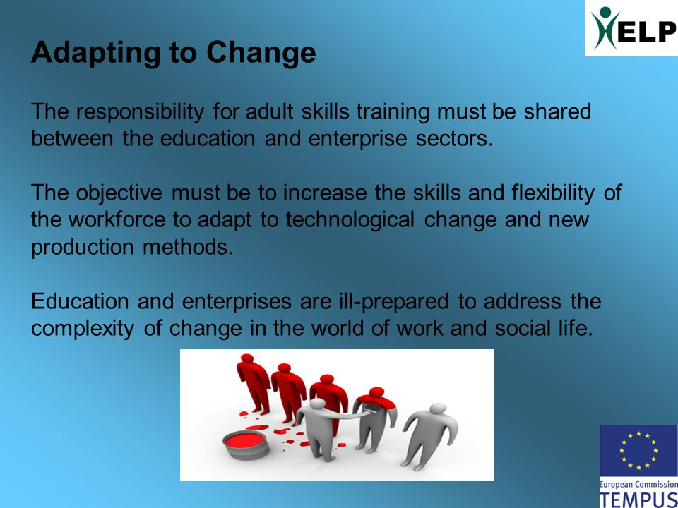 Adapting to Change The responsibility for adult skills training must be shared between the education and enterprise sectors.