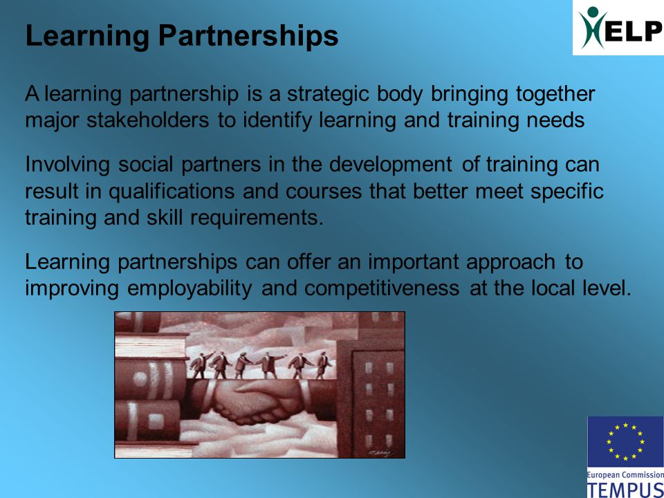 Learning Partnerships A learning partnership is a strategic body bringing together major stakeholders to identify learning and training needs Involving social partners in the development of training can result in qualifications and courses that better meet specific training and skill requirements.