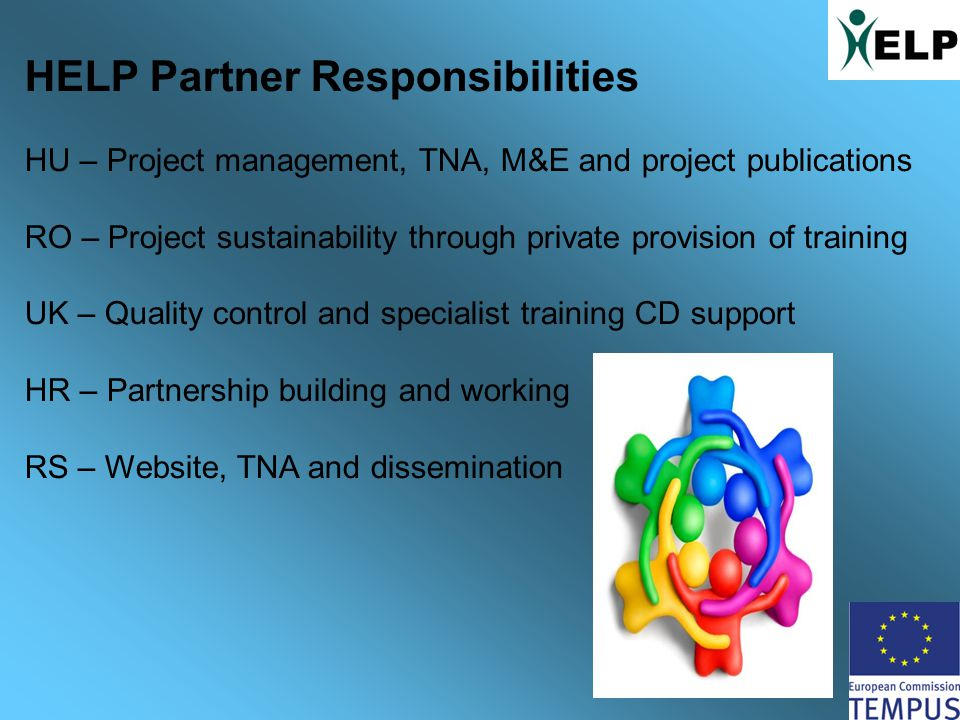 HELP Partner Responsibilities HU – Project management, TNA, M&E and project publications RO – Project sustainability through private provision of training UK – Quality control and specialist training CD support HR – Partnership building and working RS – Website, TNA and dissemination