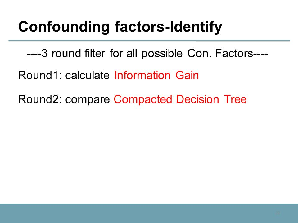 22 Confounding factors-Identify ----3 round filter for all possible Con. Factors---- Round1: calculate Information Gain Round2: compare Compacted Deci
