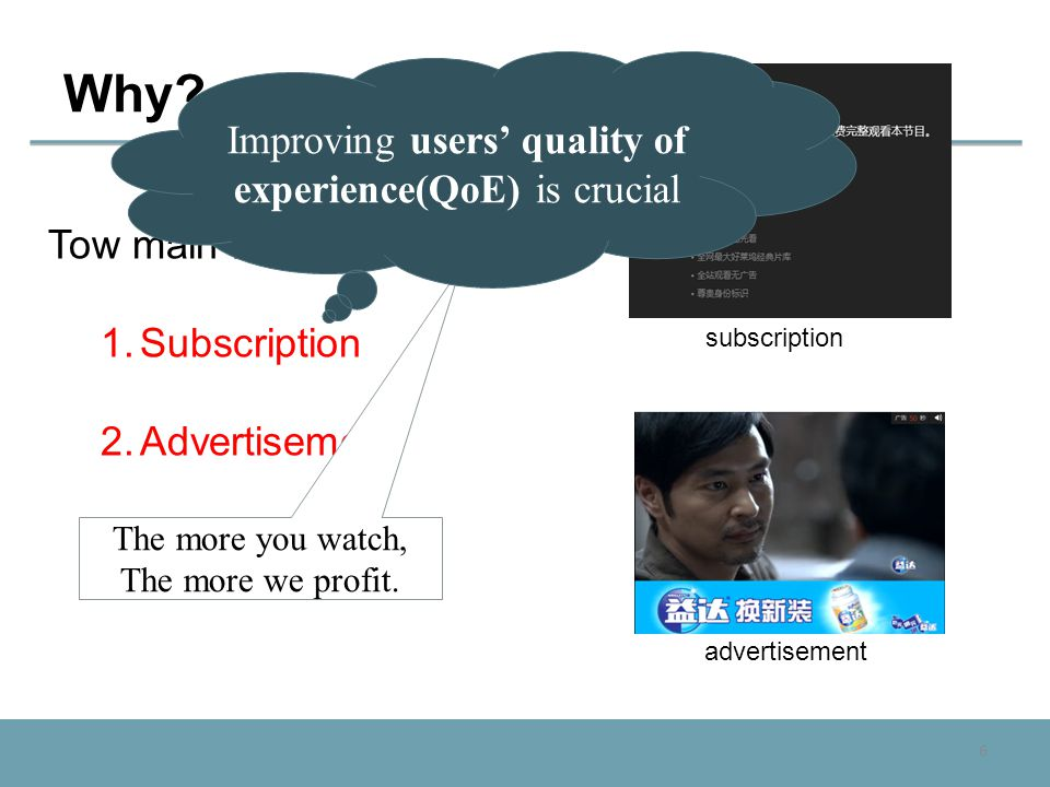 6 Why? Tow main revenue models: 1.Subscription 2.Advertisement advertisement subscription The more you watch, The more we profit. Improving users' qua