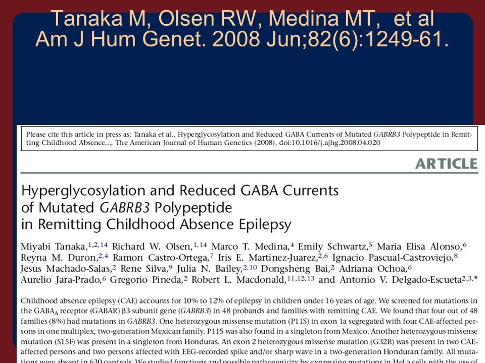Tanaka M, Olsen RW, Medina MT, et al Am J Hum Genet. 2008 Jun;82(6):1249-61.