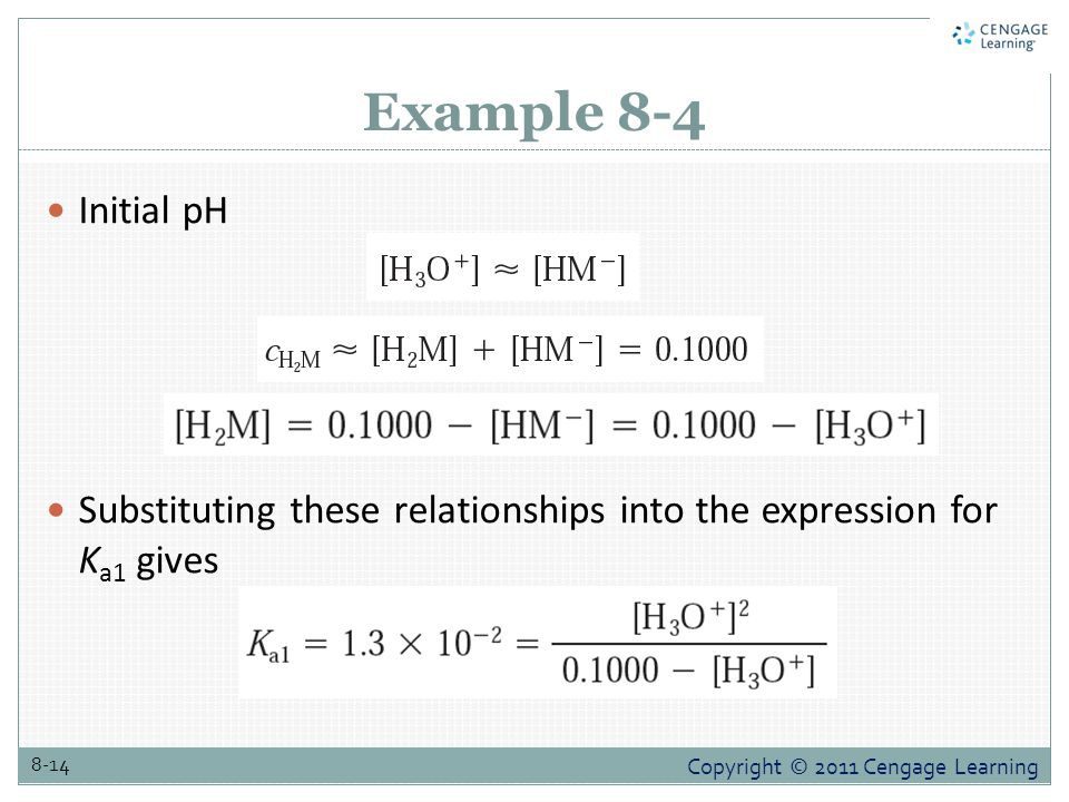 Copyright © 2011 Cengage Learning 8-14 Example 8-4 Initial pH Substituting these relationships into the expression for K a1 gives