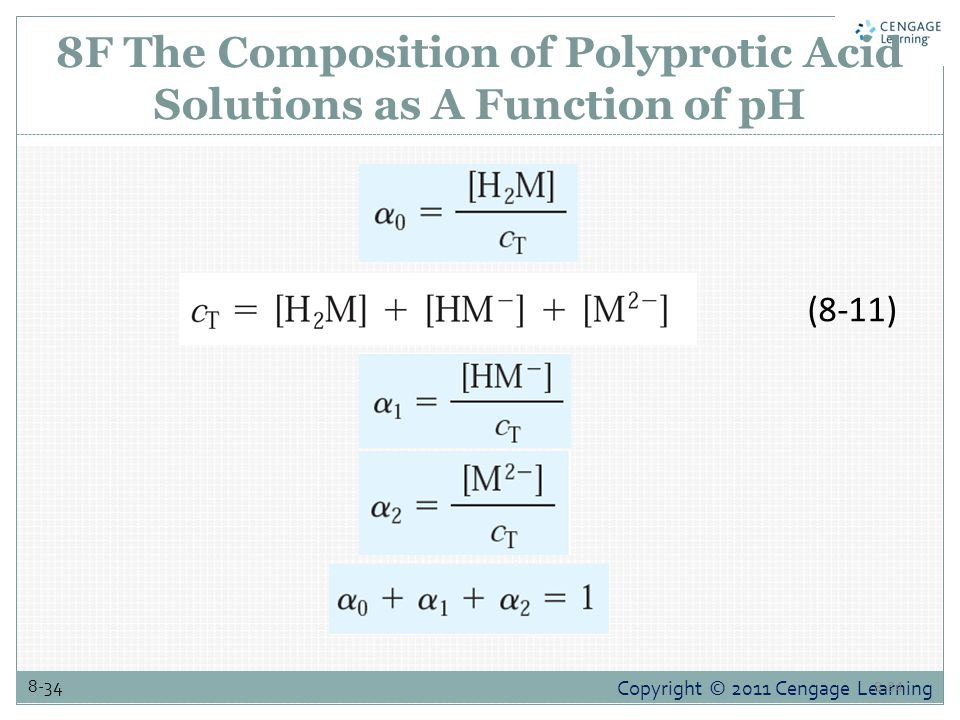 Copyright © 2011 Cengage Learning 8-34 8F The Composition of Polyprotic Acid Solutions as A Function of pH 8-34 (8-11)