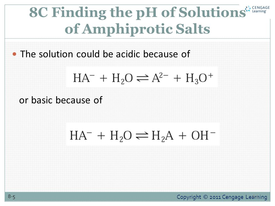 Copyright © 2011 Cengage Learning 8-5 8C Finding the pH of Solutions of Amphiprotic Salts The solution could be acidic because of or basic because of