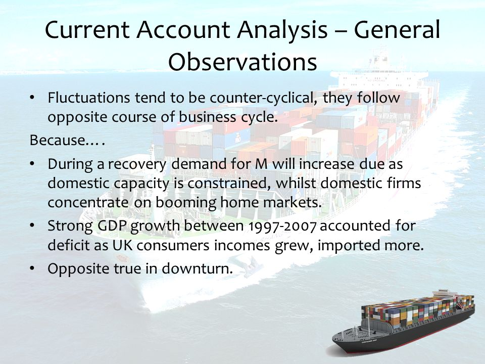 Current Account Analysis – General Observations Fluctuations tend to be counter-cyclical, they follow opposite course of business cycle.
