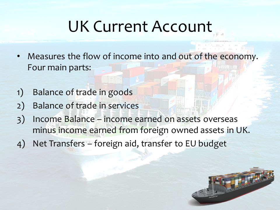 UK Current Account Measures the flow of income into and out of the economy.